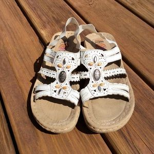 Earth Spirit Slingback Strap White Sandals Beaded